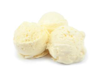 Balls of delicious vanilla ice cream on white background