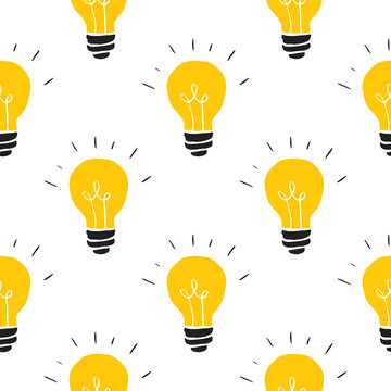 Light bulb Seamless Pattern hand drawn. Vector Illustration