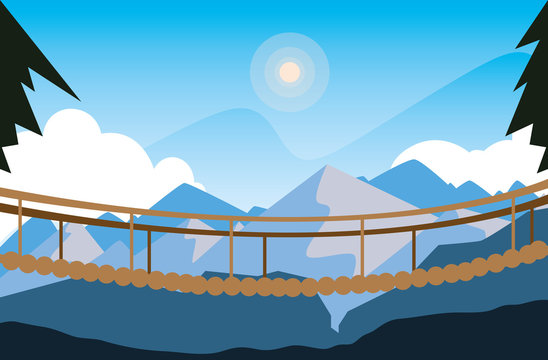 beautiful landscape scene with suspension bridge