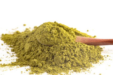 A Pile of Green Tea Matcha Powder Isolated on a White Background