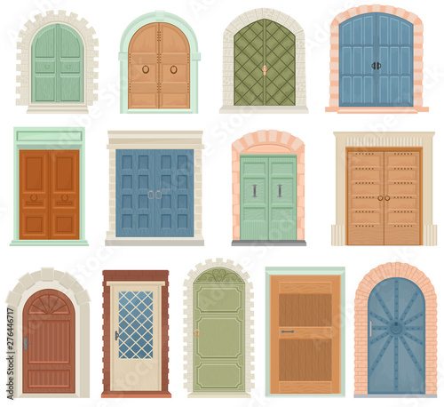 Doors vector vintage doorway front entrance lift entry or