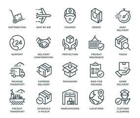 Delivery Icons,  Monoline concept