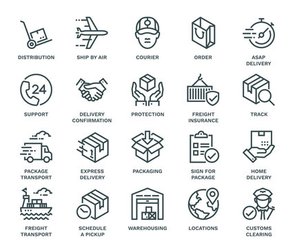 Delivery Icons,  Monoline concept