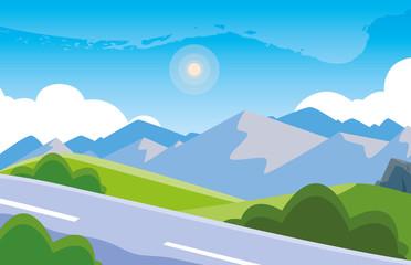 landscape mountainous with road scene