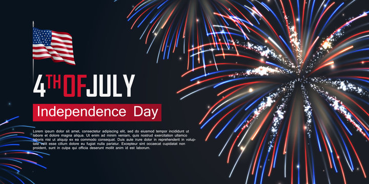 Fourth of July happy independence day horizontal banner. USA day celebration flyer with realistic dazzling display of fireworks. National patriotic and political holiday poster vector illustration.