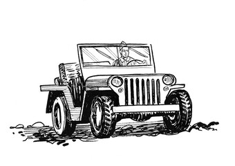 Military WW2 car. Ink black and white drawing