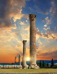 Wall Mural - columns of the Temple of Olympian Zeus in athens greece