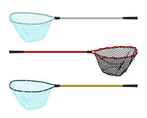 Fototapeta Fishing landing net simple icon vector set obraz