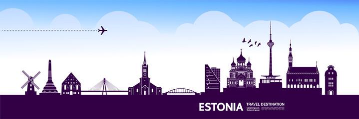 Wall Mural - Estonia travel destination grand vector illustration.