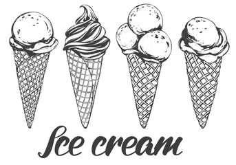Ice cream set hand drawn vector illustration realistic sketch