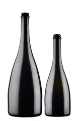 two black champagne bottles on grey background