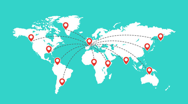 World map with red pointer marks. Globe communication concept. Location pins on travel map