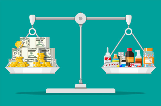 Balance scales with pile of money and bottles of drugs and pills. Health insurance and healthcare. Buying and selling drugs. Pharmacy shop. Vector illustration in flat style