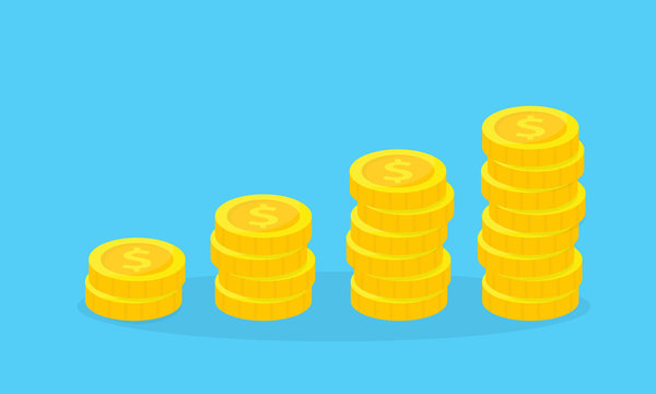 Stack of golden coins. Financial growth concept. Saving, donation, investing paying illustration.