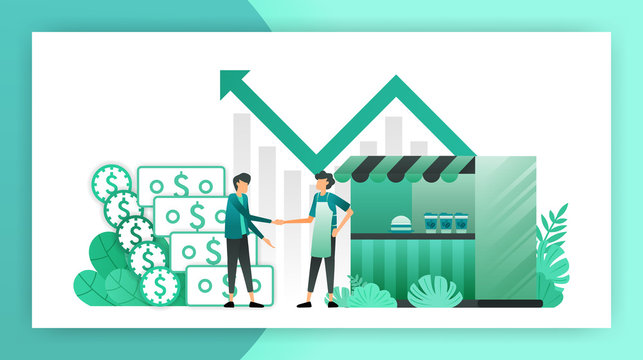 small business loans. roadside shop that get loans from bank without collateral. borrow debt to develop business and help entrepreneurs and owners. vector illustration concept for landing page website