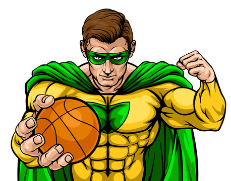 A superhero basketball sports mascot holding a ball
