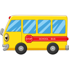 Yellow school bus cartoon on white background
