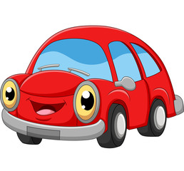 Papiers peints Cartoon voitures Smiling red car cartoon on white background
