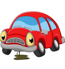 Papiers peints Cartoon voitures Cartoon red car sad in need of repair