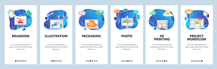 Website and mobile app onboarding screens vector template