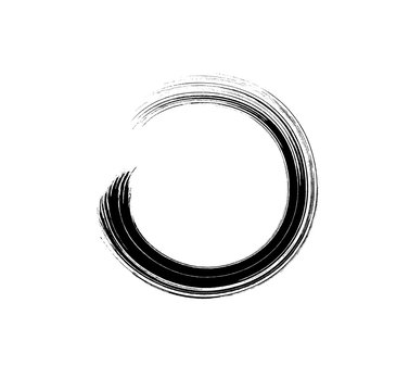 Brush mascara circle stroke isolated on white background. Vector curved paint texture or lash scribble makeup swatch.
