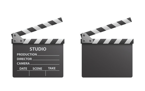 Vector realistic of black open clapperboard or clapper - stock vector.