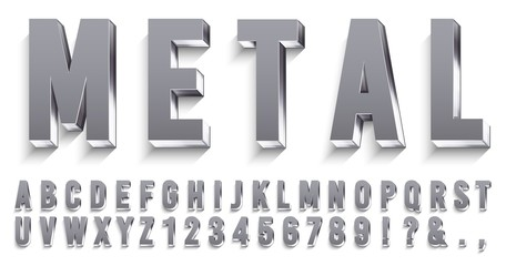 Realistic metal font. Shiny metallic letters with shadows, chrome text and metals alphabet. Credit cards steel abc and numbers, futuristic iron font. 3D vector isolated symbols set