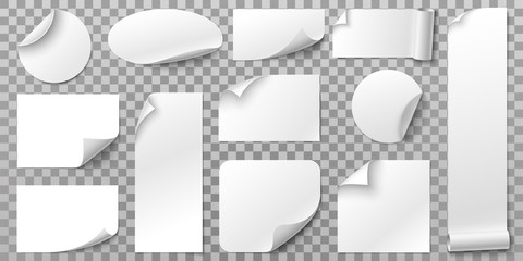 White paper stickers. Label sticker with curled corners, curve papers edge and blank tag. Book or magazine sheet, paper logo or memo sticker. Isolated 3D realistic vector symbols set