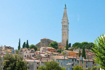 Rovinj, Istria, Croatia - Steeple of the church of Saint Euphemia