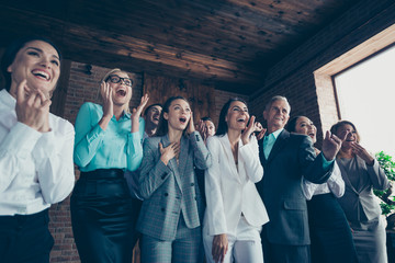 Close up photo of people yelling in gladness to boss winner money prize unbelievable congratulating holiday day event party all dressed in formal wear jackets shirts