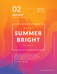 Summer poster event template. Colorful geometric background. Fluid shapes composition. Modern event poster template. Abstract bright background design