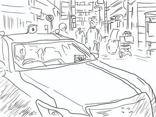 深夜の六本木。タクシーとキャッチ。日本/東京の文化。線画/塗りなしイラスト