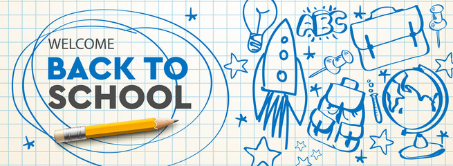 Welcome Back to school horizontal banner, doodle on checkered paper background, vector illustration. - fototapety na wymiar