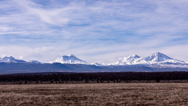 Scenic view of Broken Top, North and South Sister mountains in Central Oregon from US highway 20.
