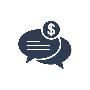 Financial negotiations. Vector icon, white background.