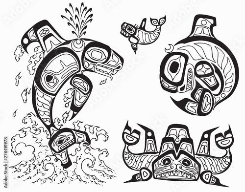 Haida Tattoo Flash Set Stock Image And Royalty Free Vector