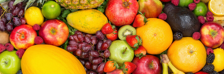 Food background fruits collection banner apples berries oranges lemons fruit