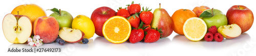 Wall mural Fresh fruits collection apple apples orange strawberries berries fruit isolated on white in a row