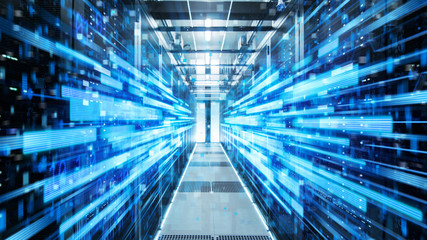 Shot of Corridor in Working Data Center Full of Rack Servers and Supercomputers with Blue Neon Visualization Projection of Data Transmission Through High Speed Internet.