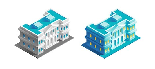 Government Building. Isometric view at exterior of an urban building, represented in different color variations.