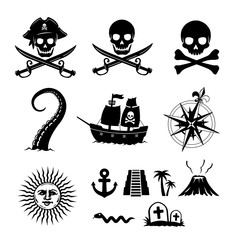 Pirate flat illustration set (skull,anchor,volcano,ship,compass,sun,kraken etc.)