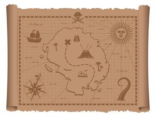 Pirate treasure map vector illustration
