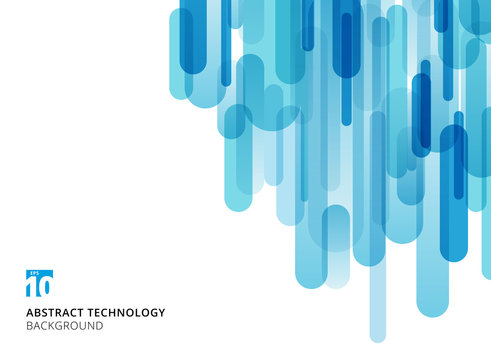 Abstract technology vertical overlapping geometric rounded shape blue color on white background with copy space.