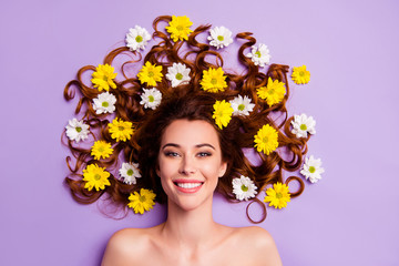 Close-up portrait of her she nice-looking charming cute attractive lovely nude naked feminine adorable cheerful wavy-haired lady blossom hairdo isolated over violet purple pastel background Fototapete