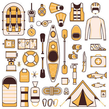 Rafting and Kayaking Design Elements in Line Art