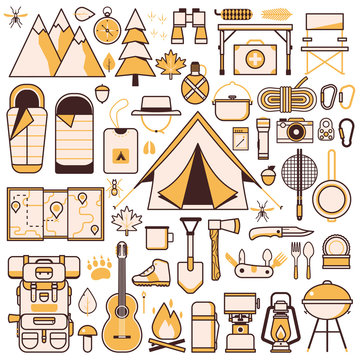 Camping and Hiking Equipment Design Elements Set