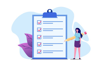 Fototapeta Businesswoman checklist concept. Checking business  task success, questionnaire checkbox. Vector illustration.