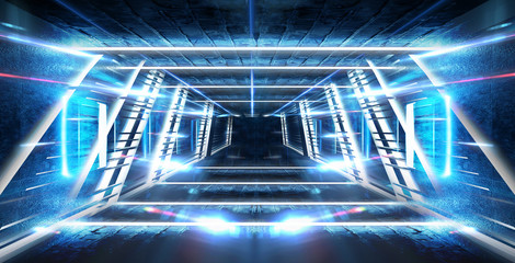 Dark tunnel, corridor. Neon light, reflection of light, lamps on the walls of brick, the old room, illuminated by floodlights. Abstraction with neon. Blue background with m lines and rays. Fotomurales