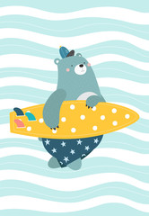 Bear with a surfboard on an abstract background. Vector illustration in a scandinavian style. Cute and funny poster.