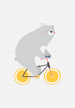 Cute and relaxed bear on a bicycle. Vector illustration in a scandinavian style. Super cute and funny poster.